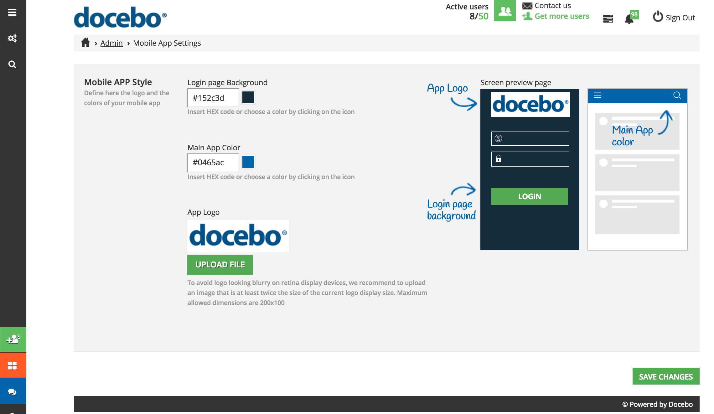 mobile app settings desktop