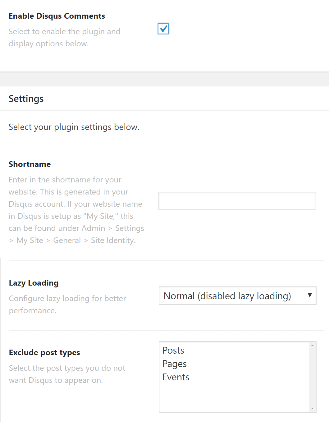 Disqus Settings