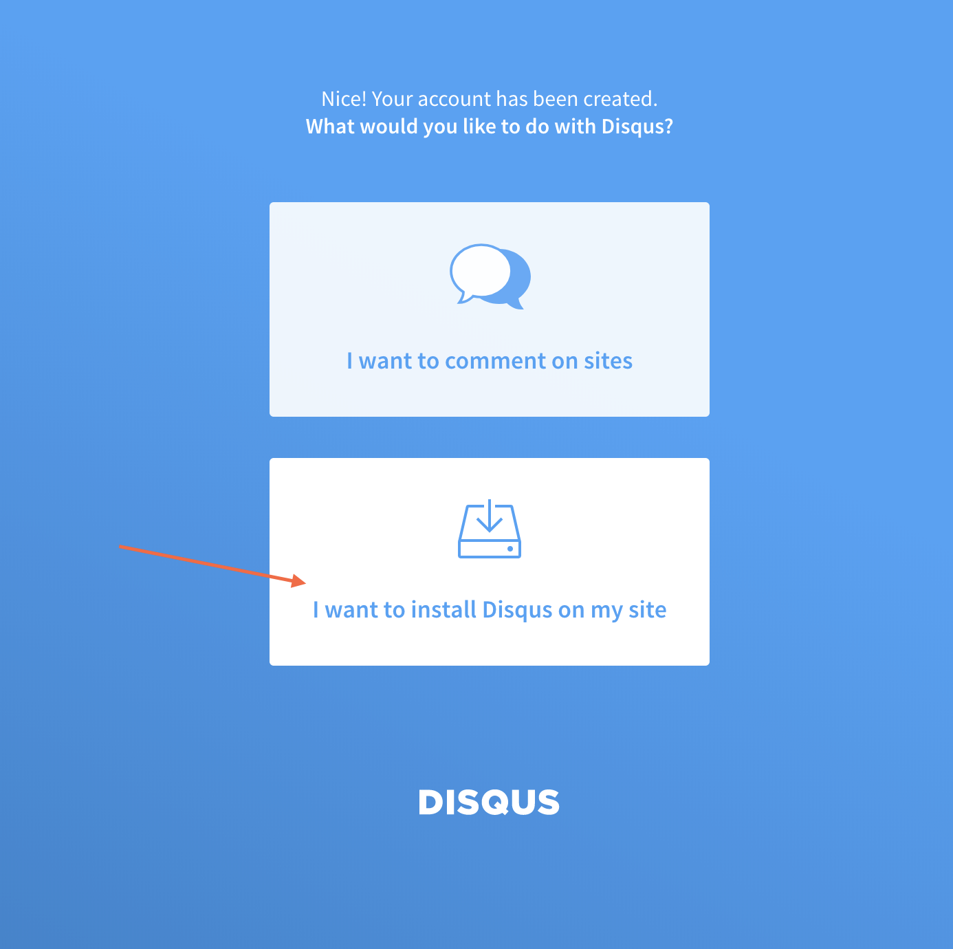 Disqus Install Flow
