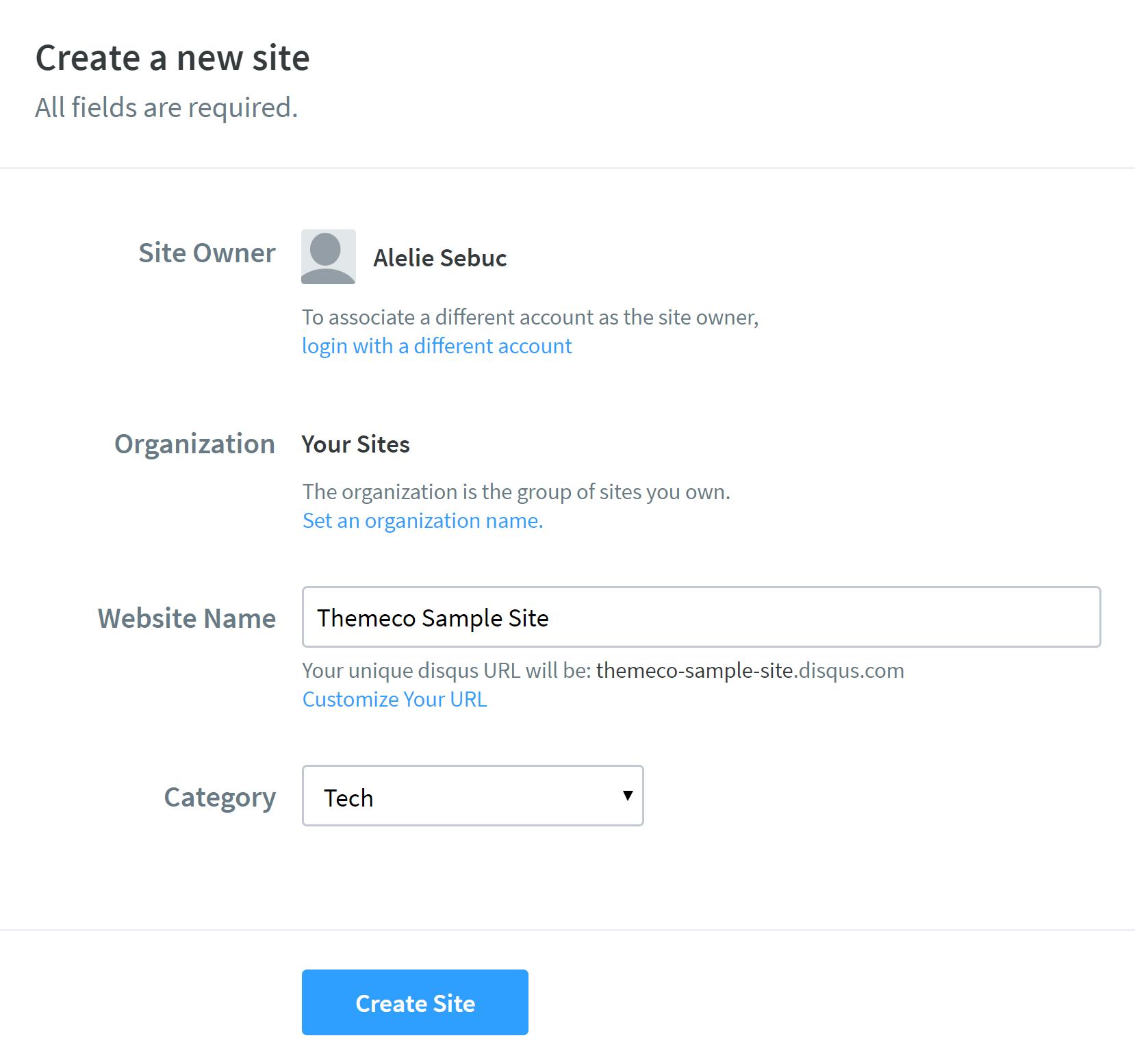 Disqus Create New Site