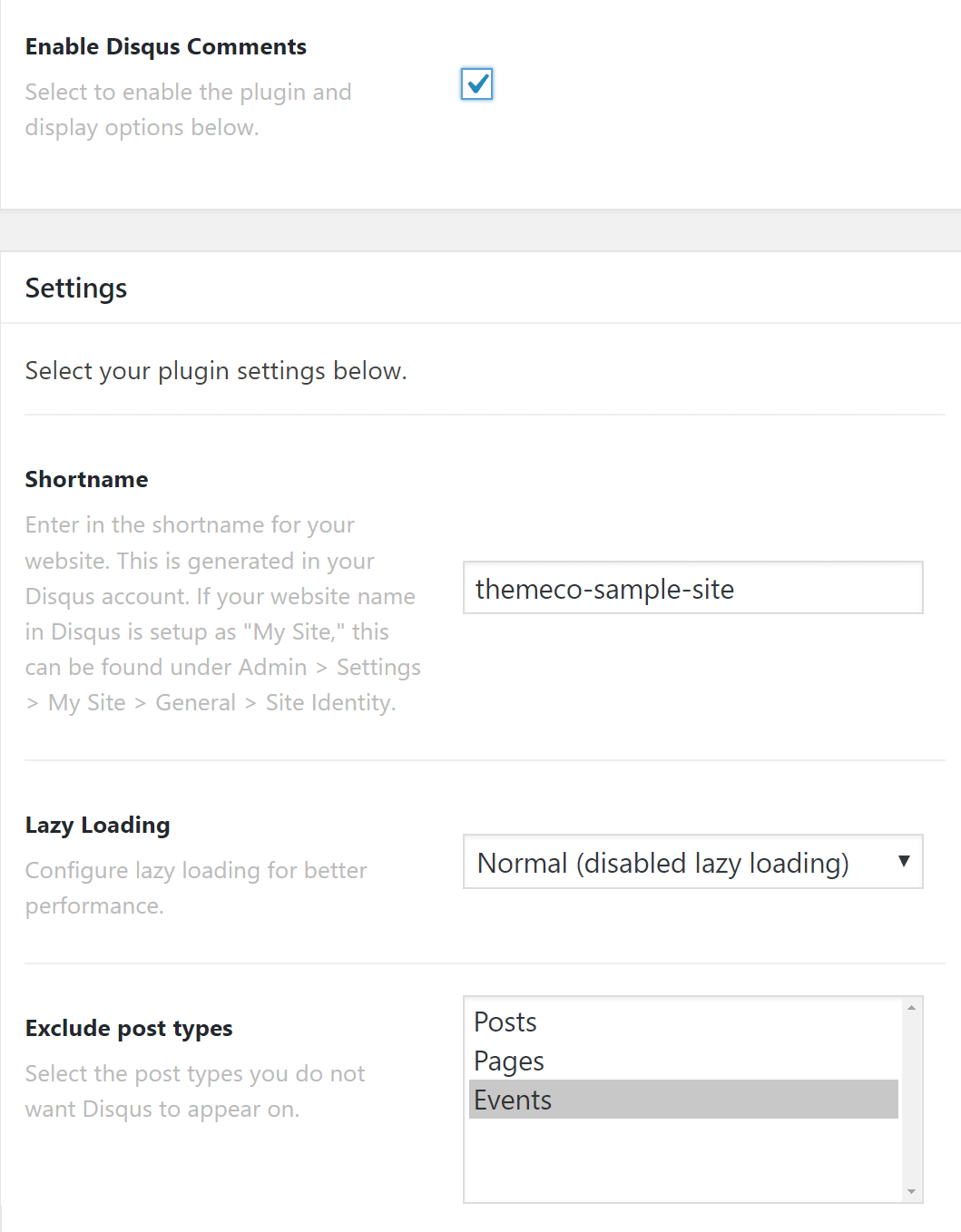 Disqus Plugin Settings