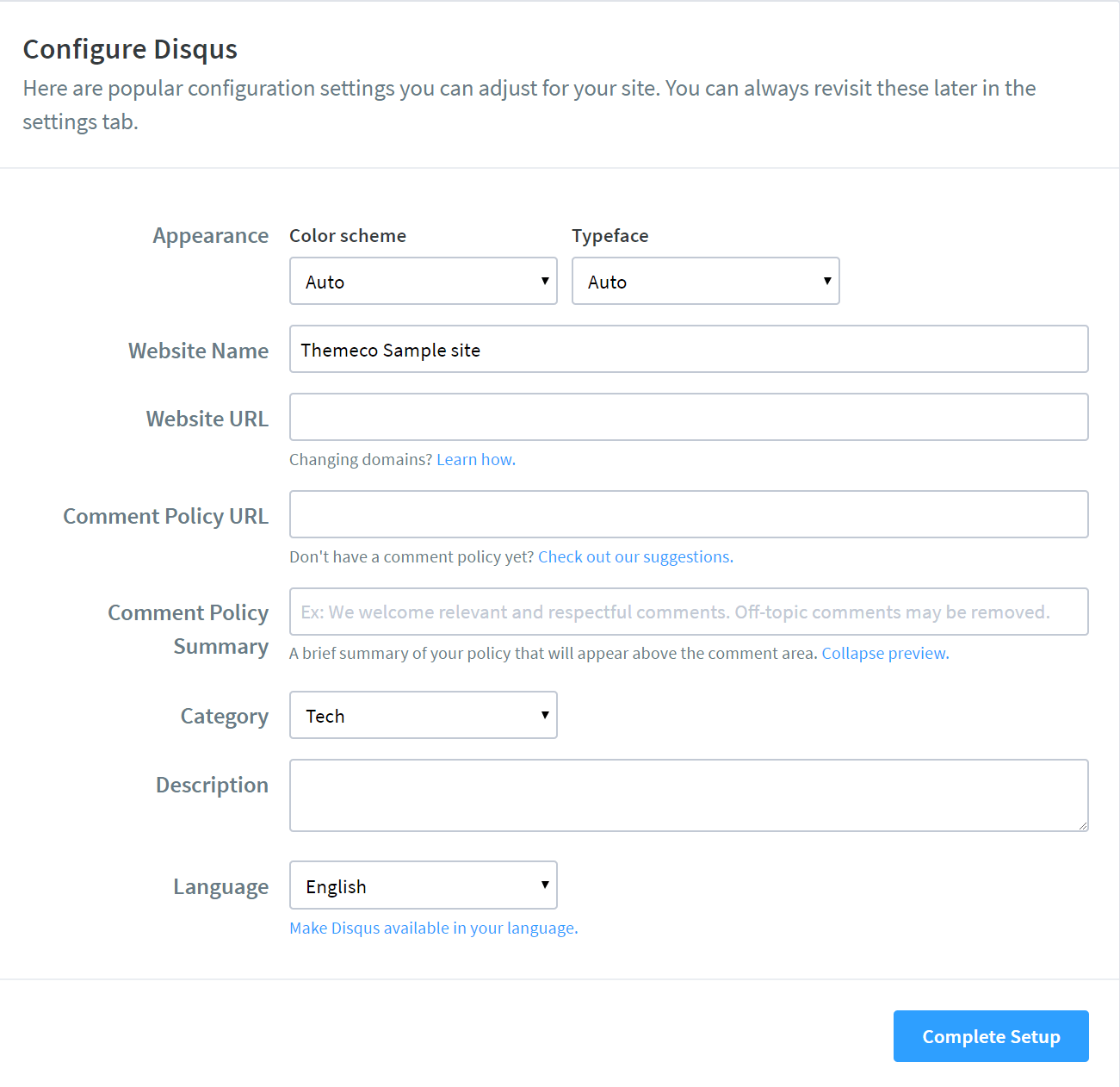 Disqus Configure