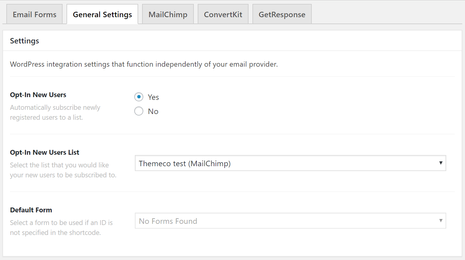Email Forms General Settings