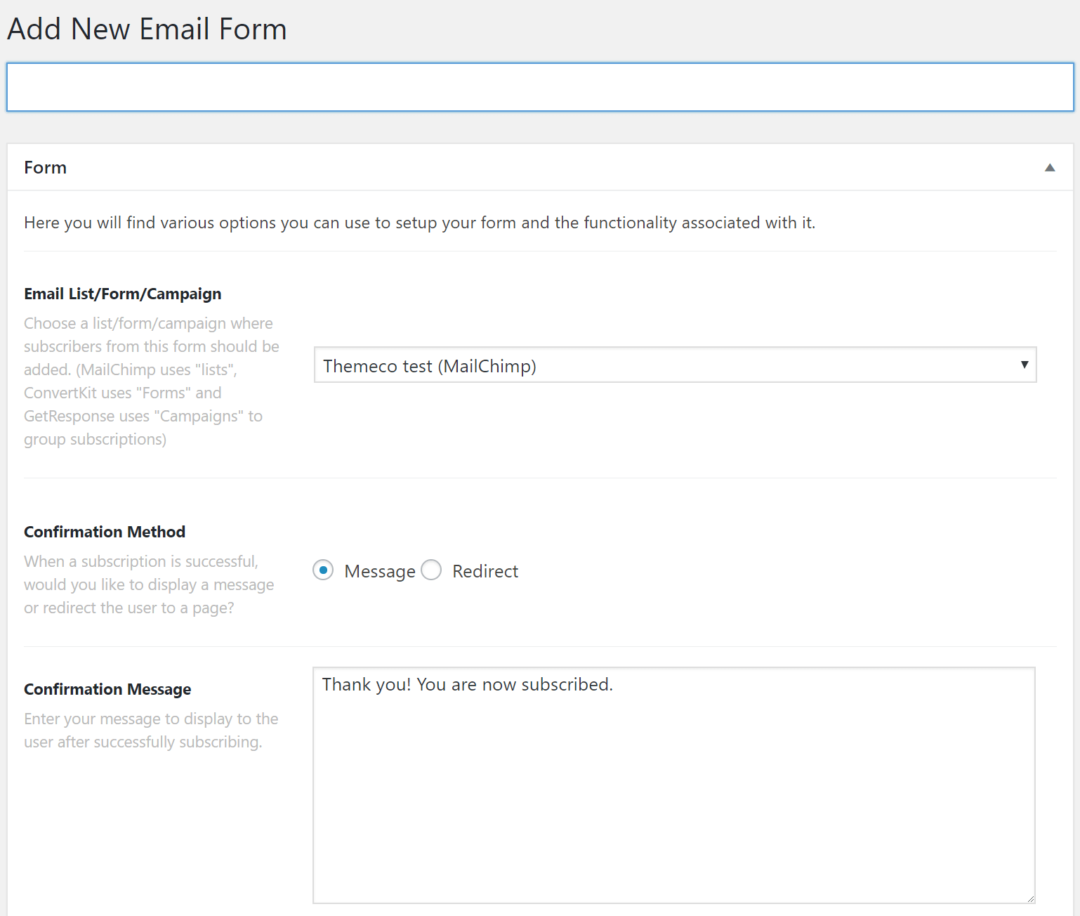 Email Forms Add New Form