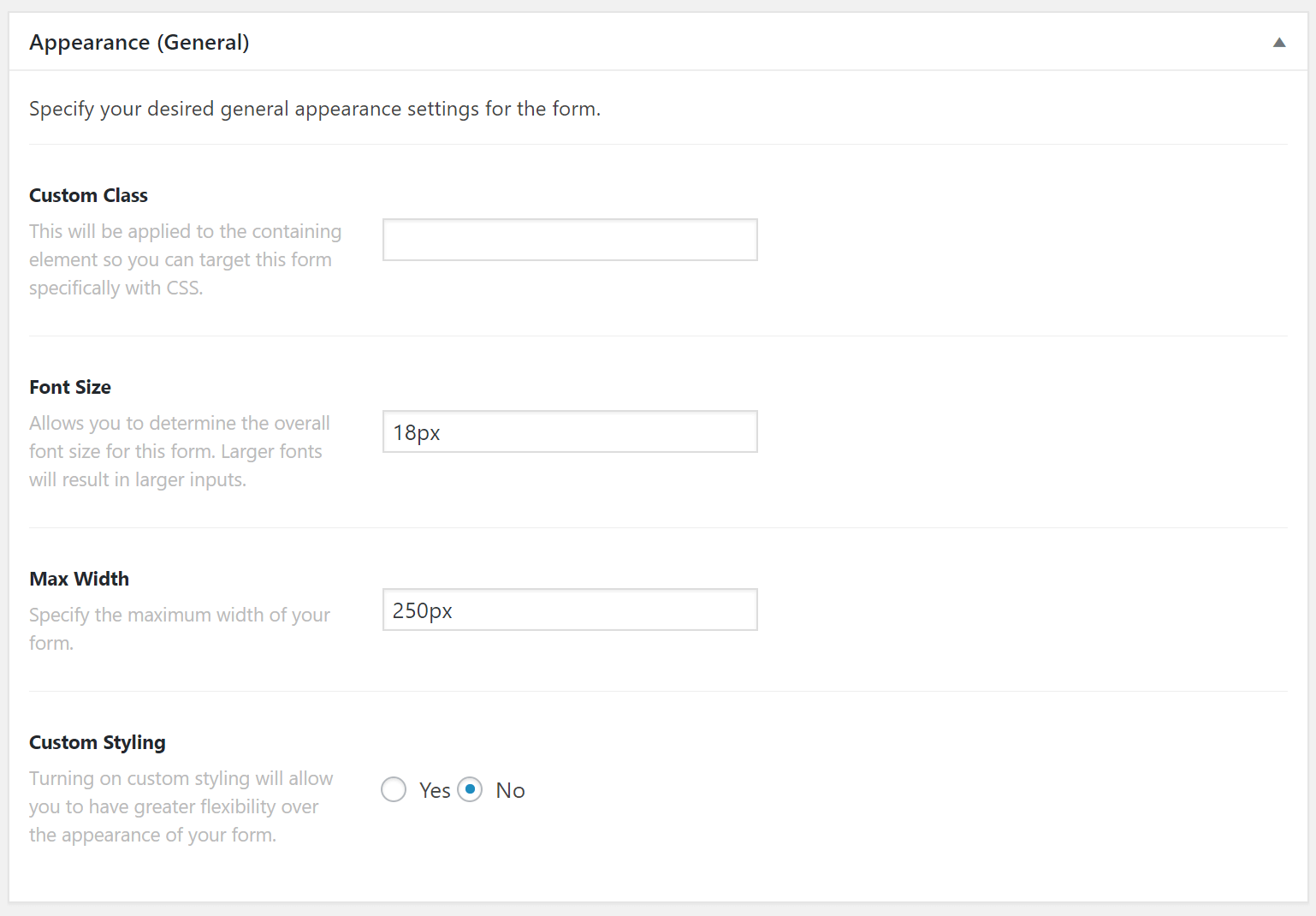 Email Forms General Appearance