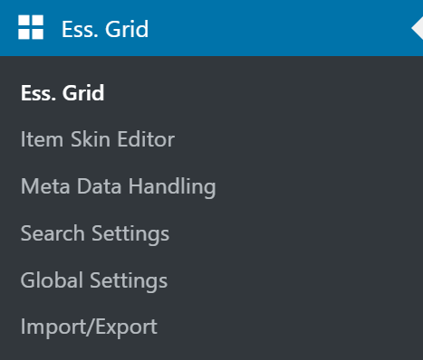 Essential Grid Tab