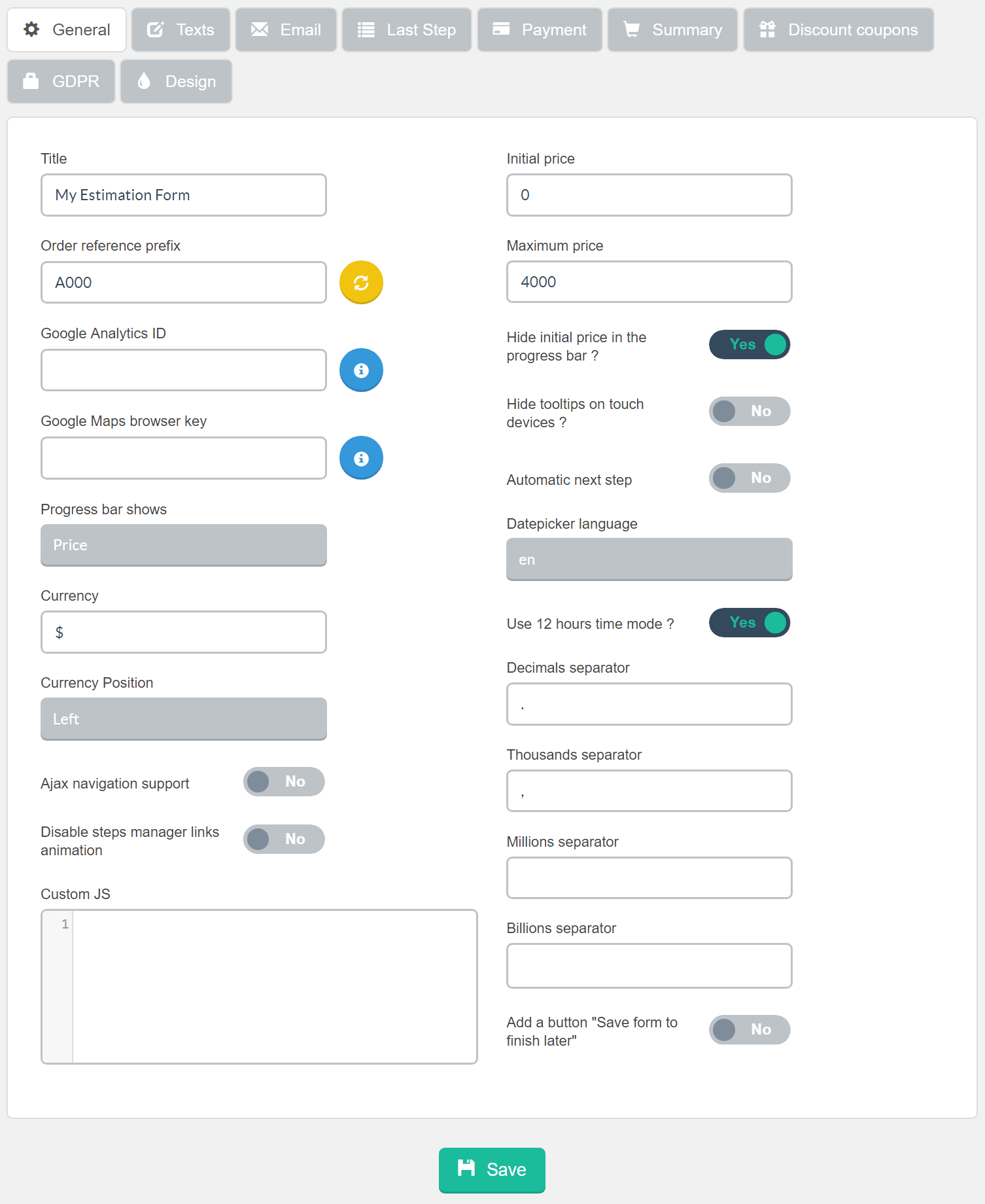 Estimation & Payment Forms Form Settings General
