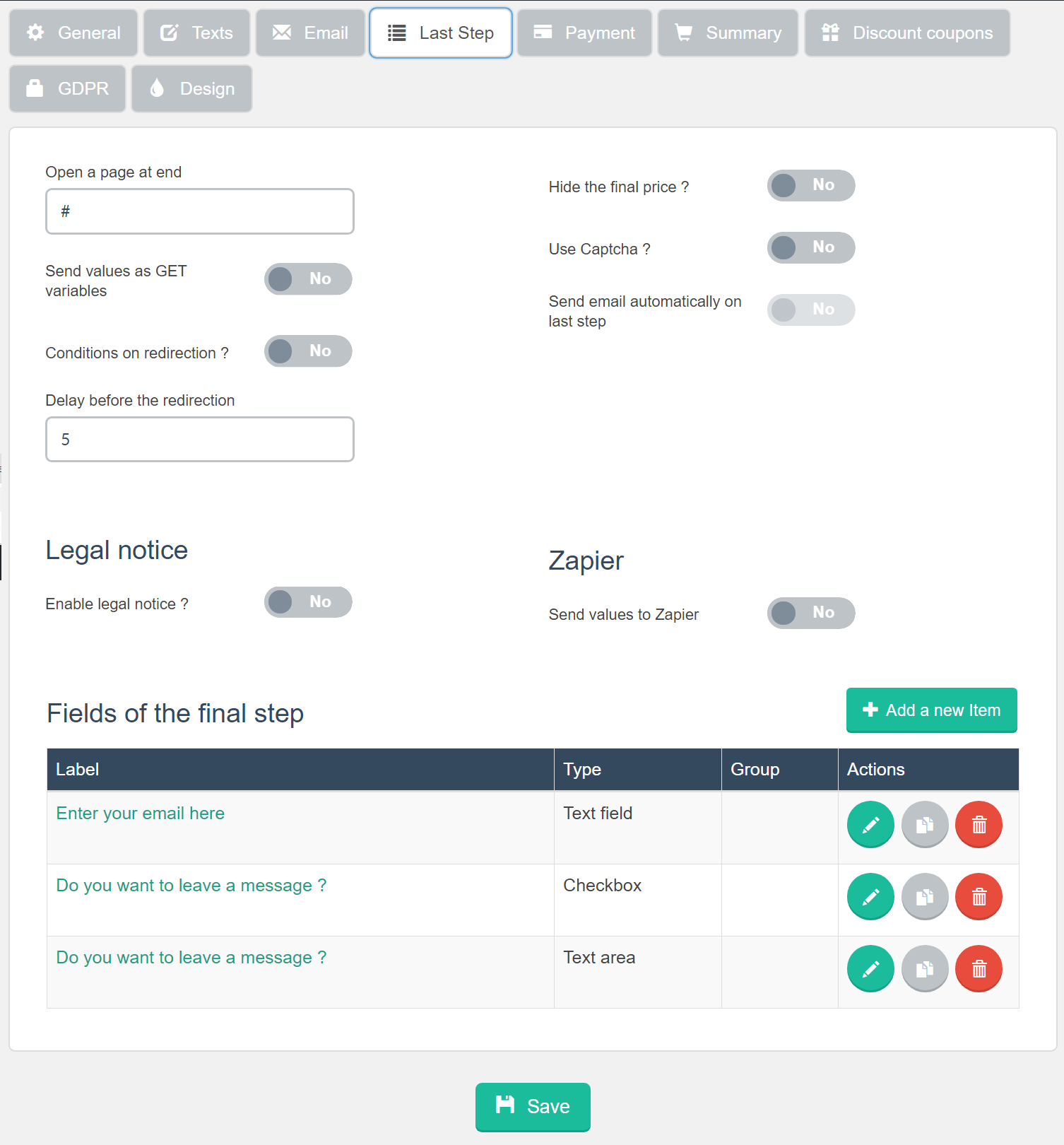 Estimation & Payment Forms Form Settings Last Step