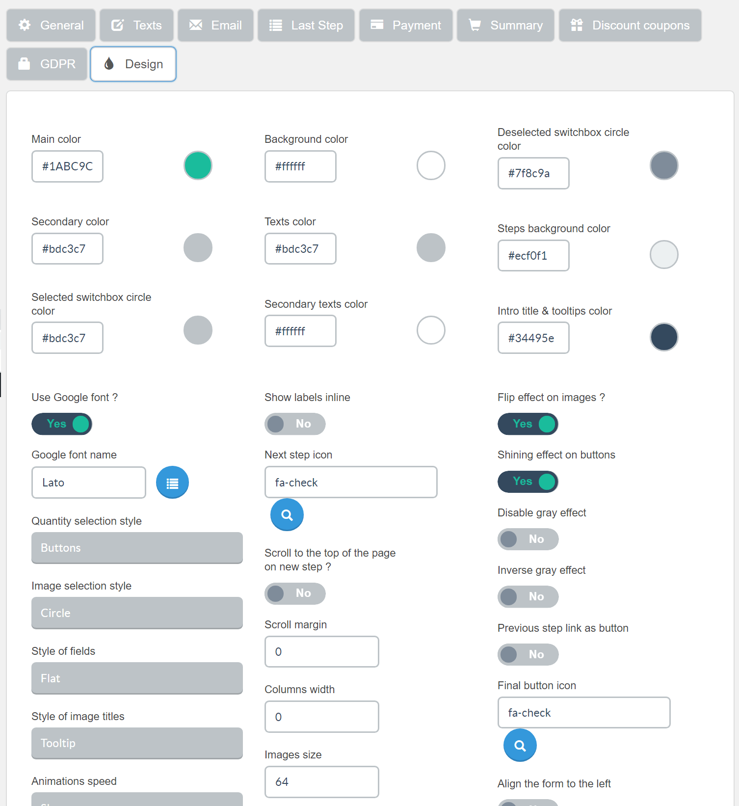Estimation & Payment Forms Form Settings Design