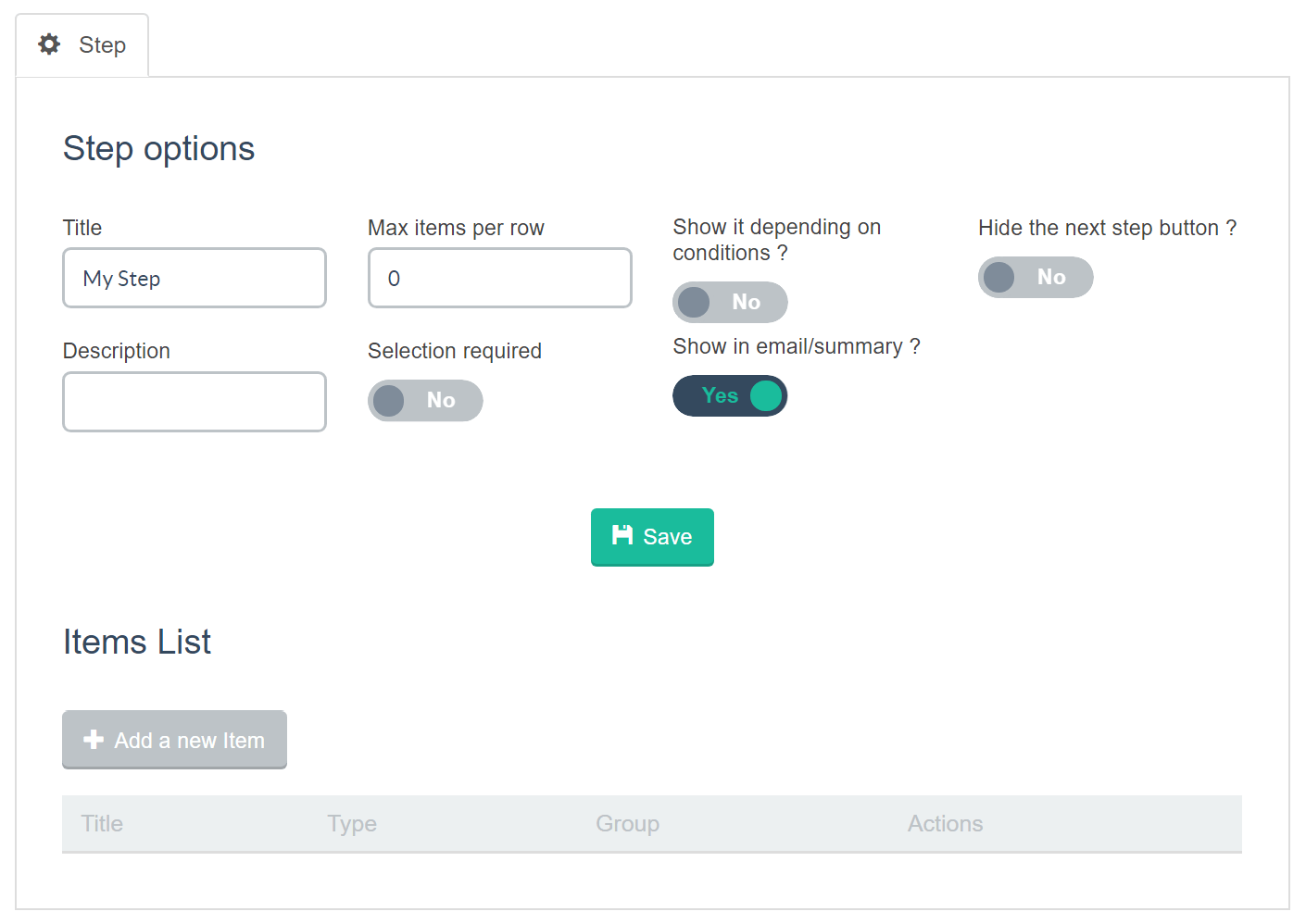 Estimation & Payment Forms Step Options