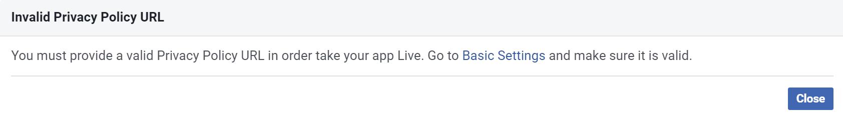 Facebook App Privacy Policy Error