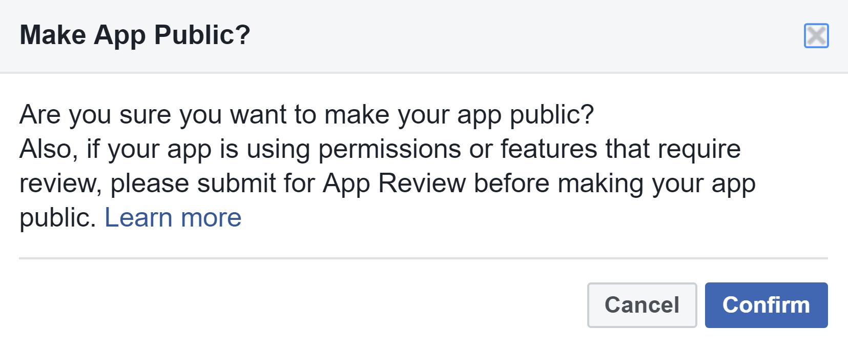 Facebook Make App Public