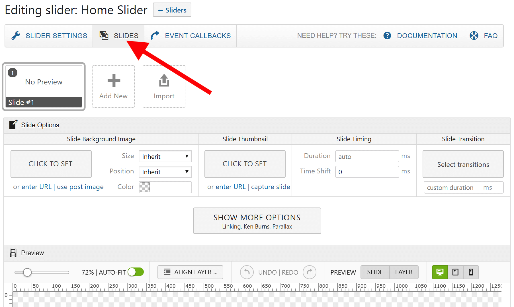 LayerSlider Editing Slider