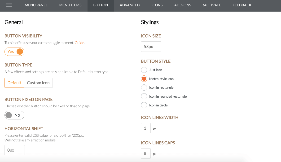 Superfly Menu Settings