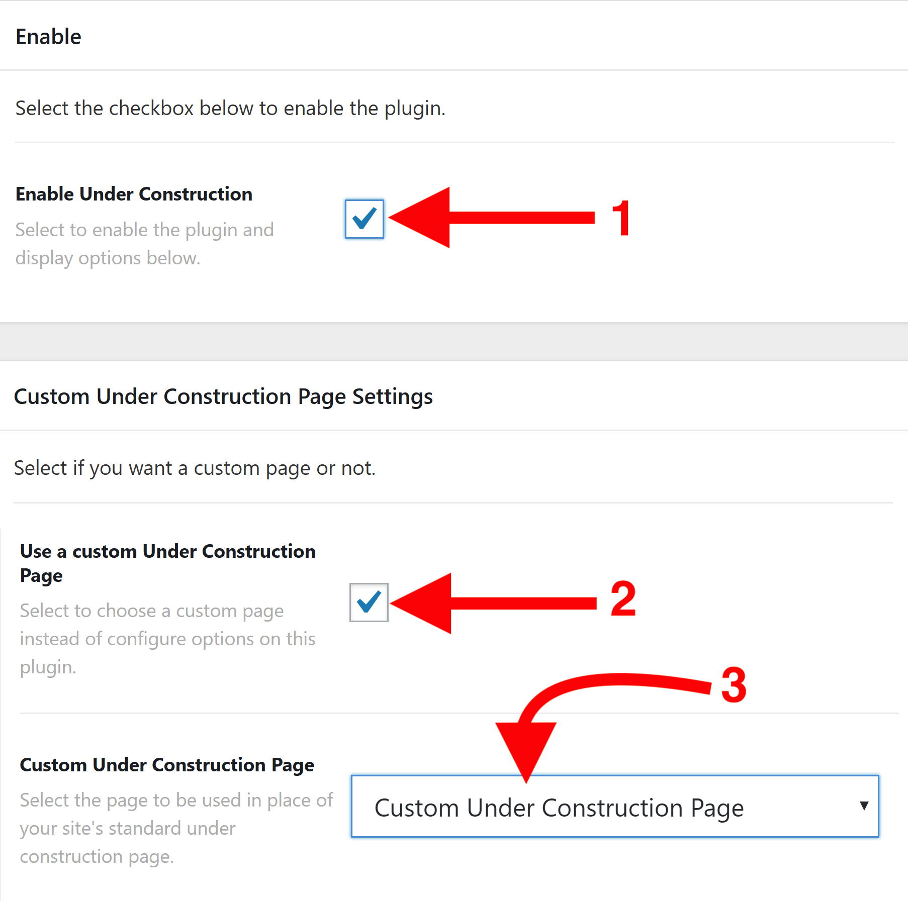 Under Construction Advanced Settings