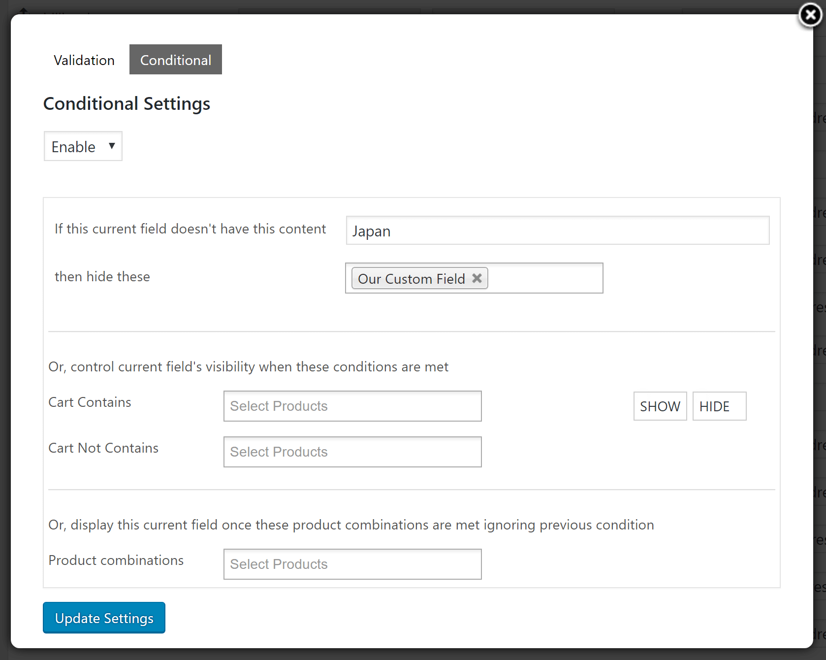 Woo Checkout Editor Conditional Settings