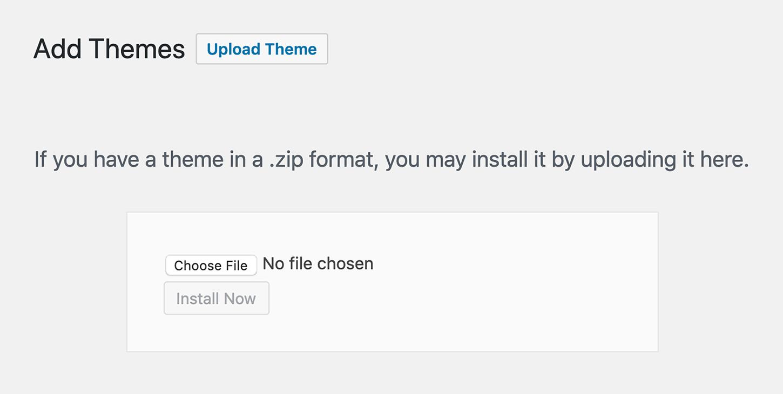 "WordPress ""Upload Theme"" Button"