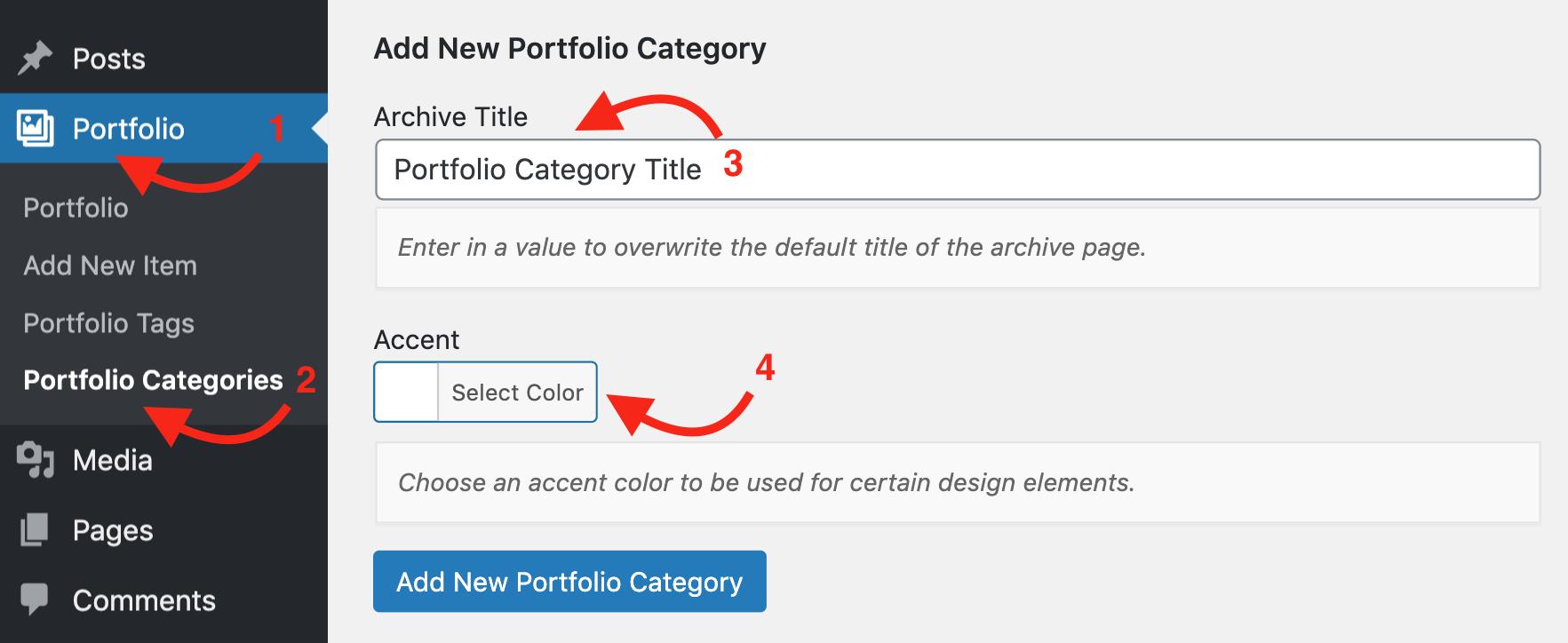 Portfolio Category Settings