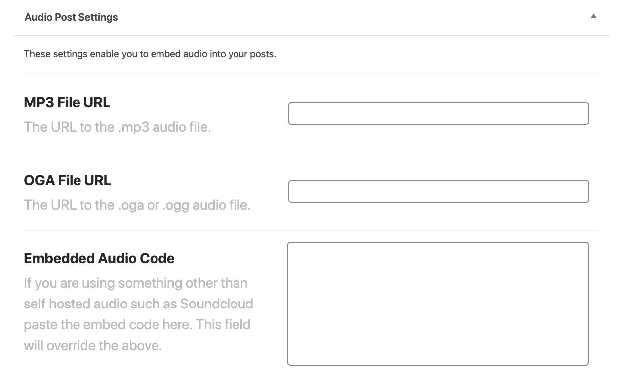 Audio Post Settings