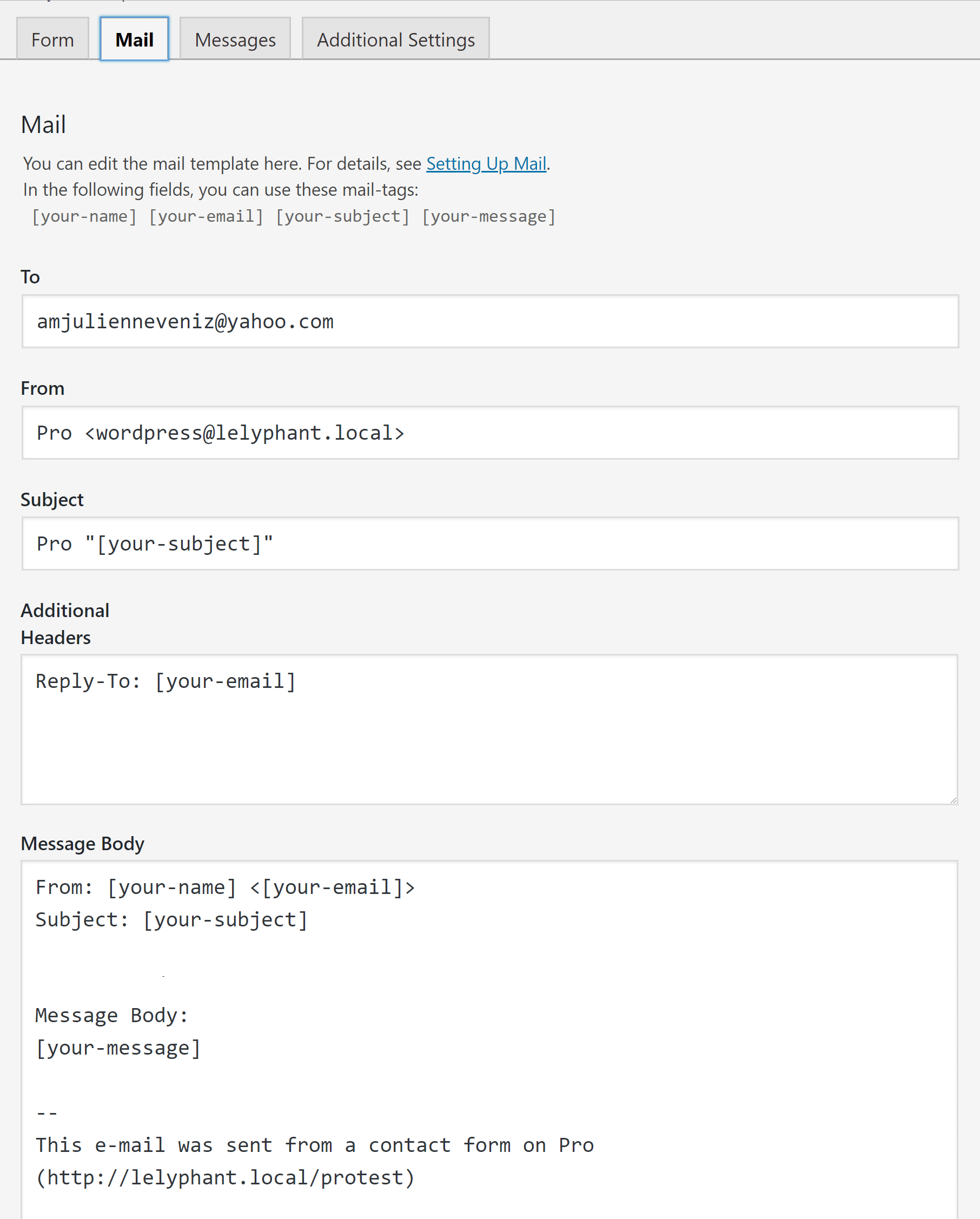 Contact Form 7 Mail Setup