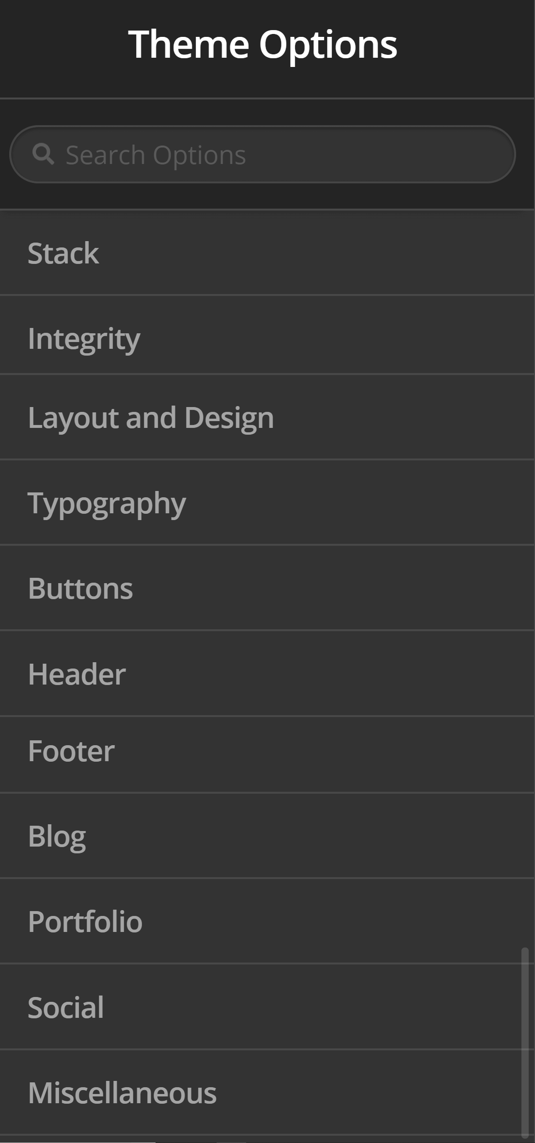 Theme Options Buttons