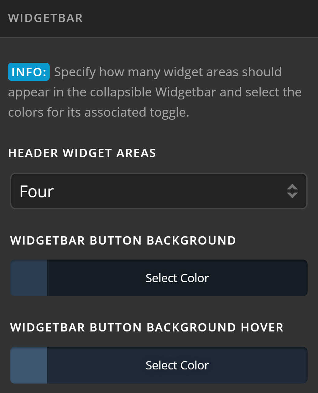 Theme Options Headers Widgetbar
