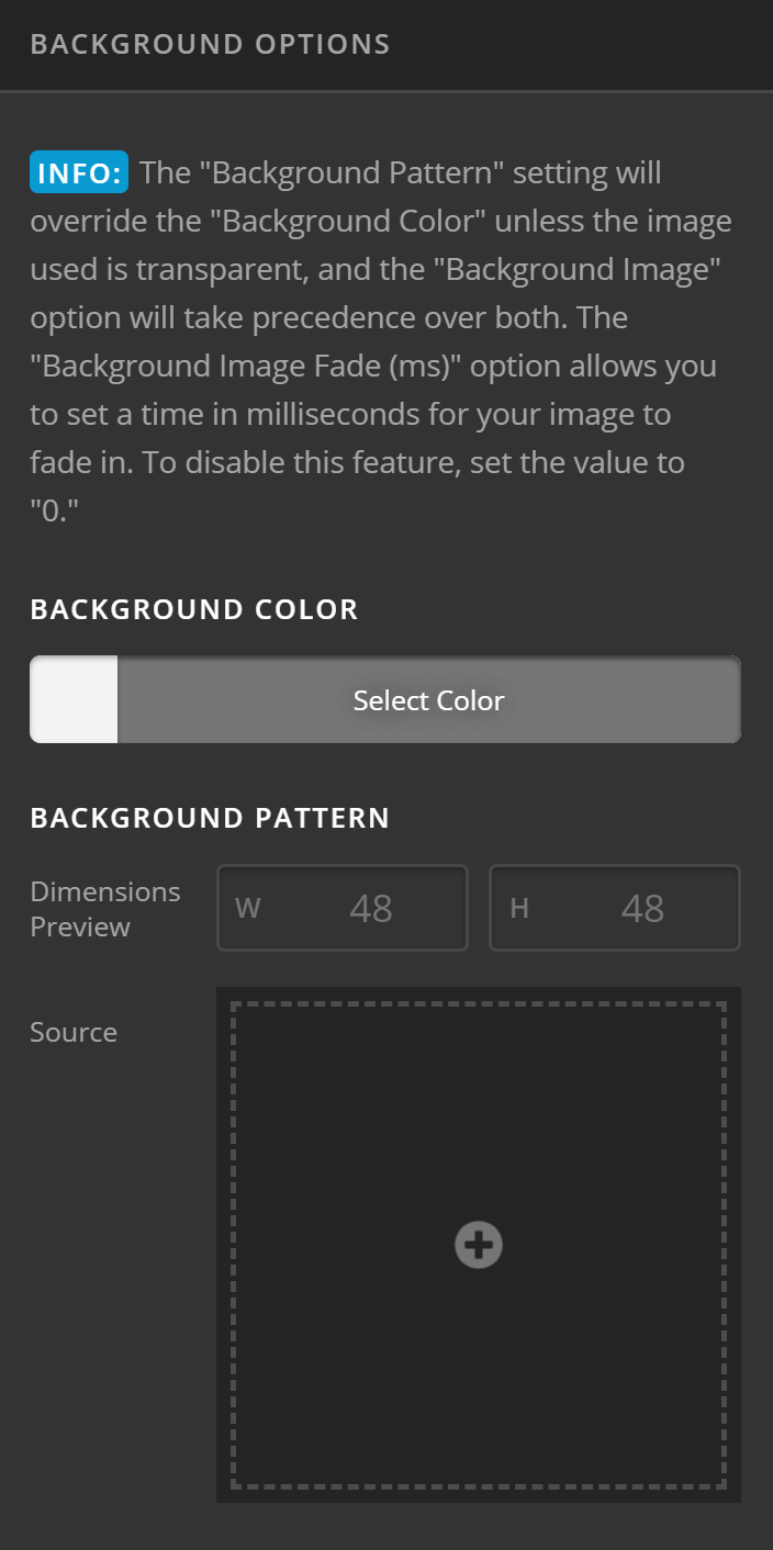 Theme Options Background Options