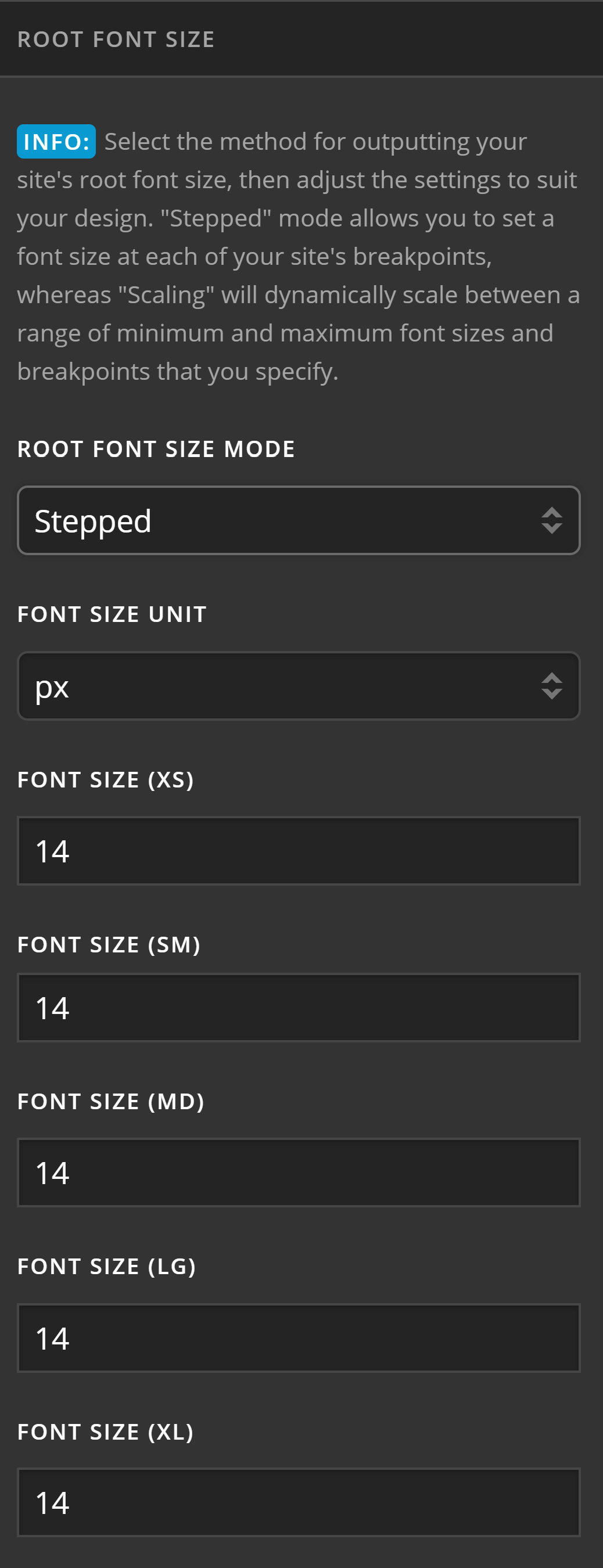 Theme Options Typography Root Font Size