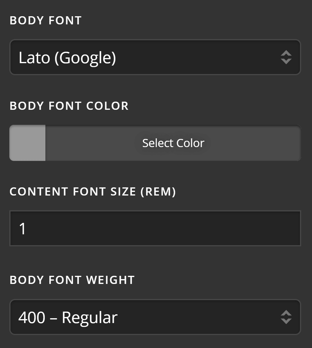 Theme Options Typography Content Settings