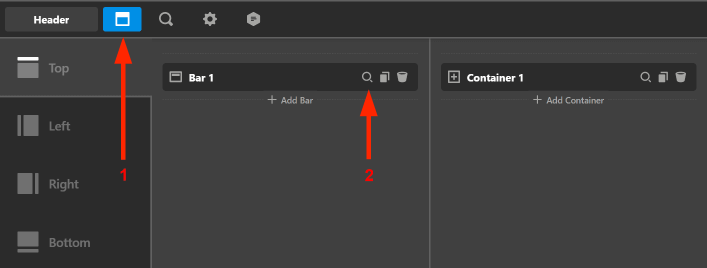 How to inspect the header bar