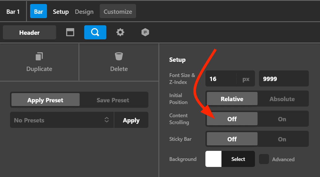 Turn off content scrolling option