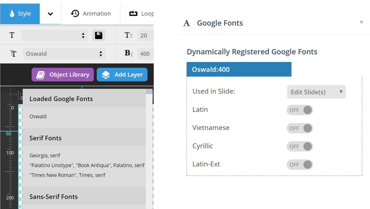 Revolution Slider Google Fonts