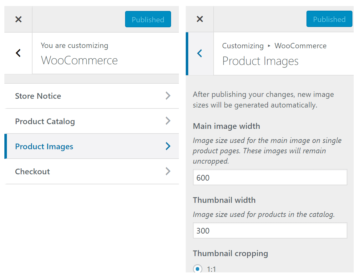 Customizing > WooCommerce