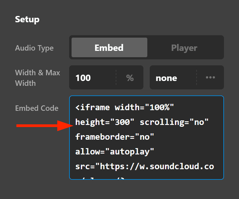 Audio Element Setup Embed Code
