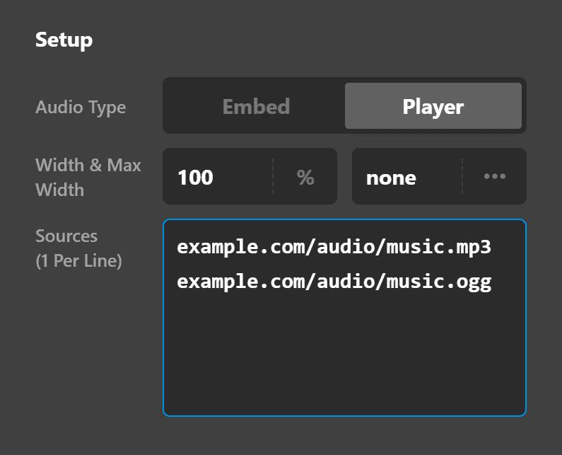 Audio Setup Player Source