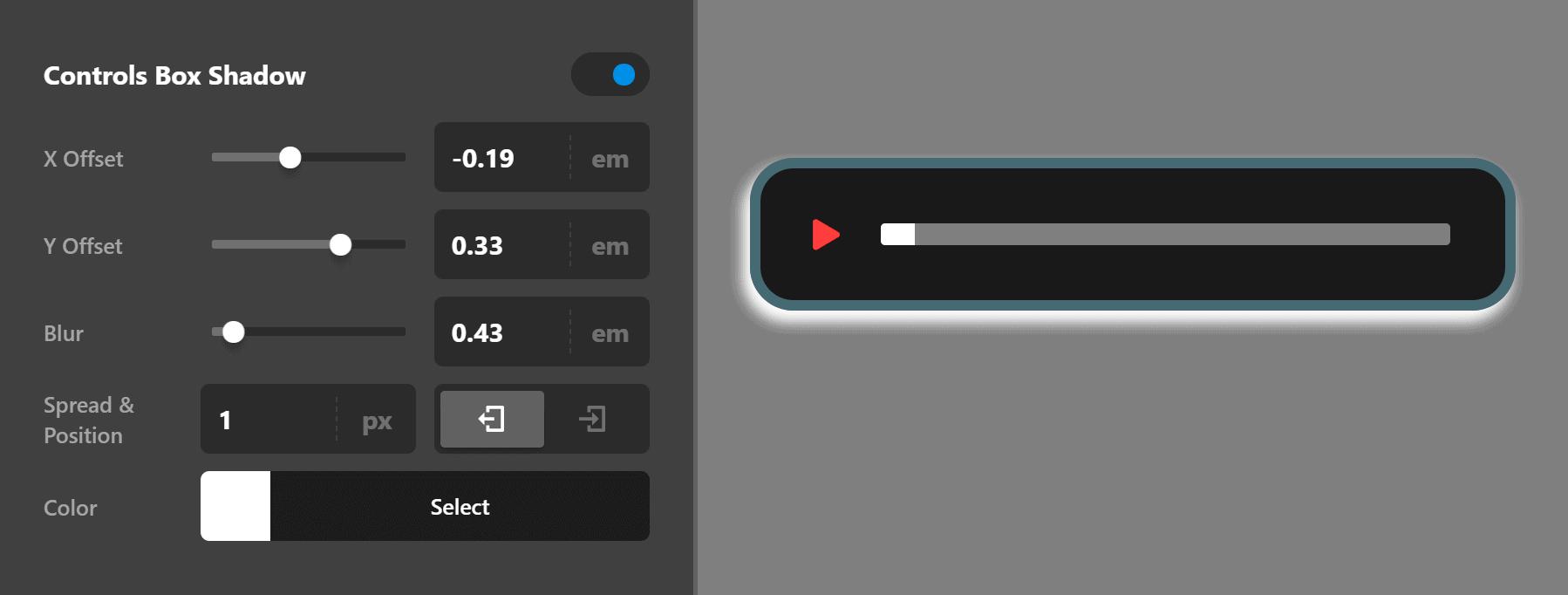 Audio Controls Box Shadow