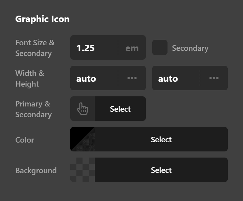 Graphic Icon Settings