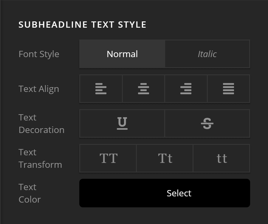 Subheadline Text Style