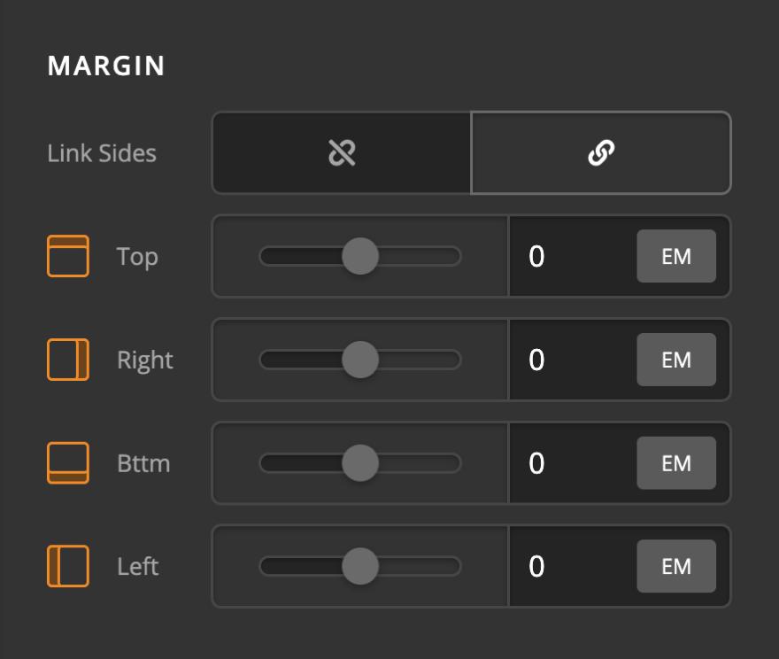 Icon Element Setup Margin