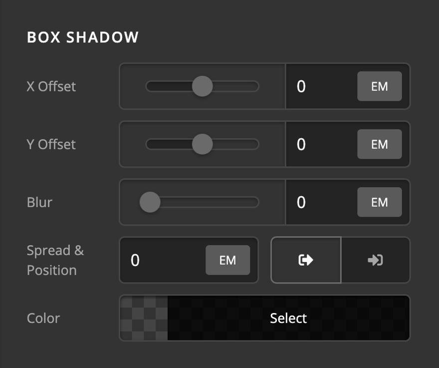 Icon Element Setup Box Shadow