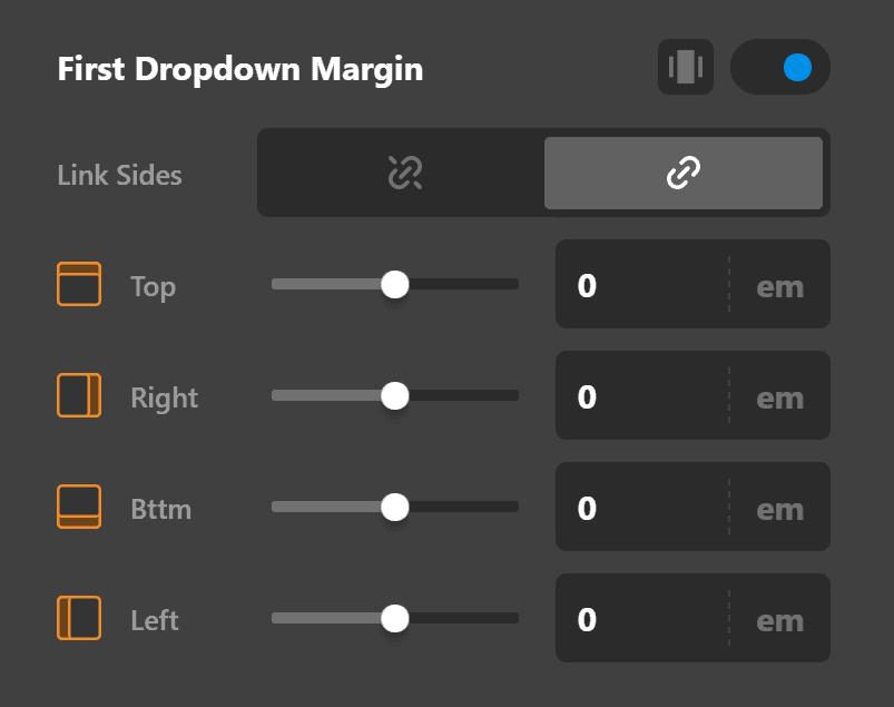 First Dropdown Margin