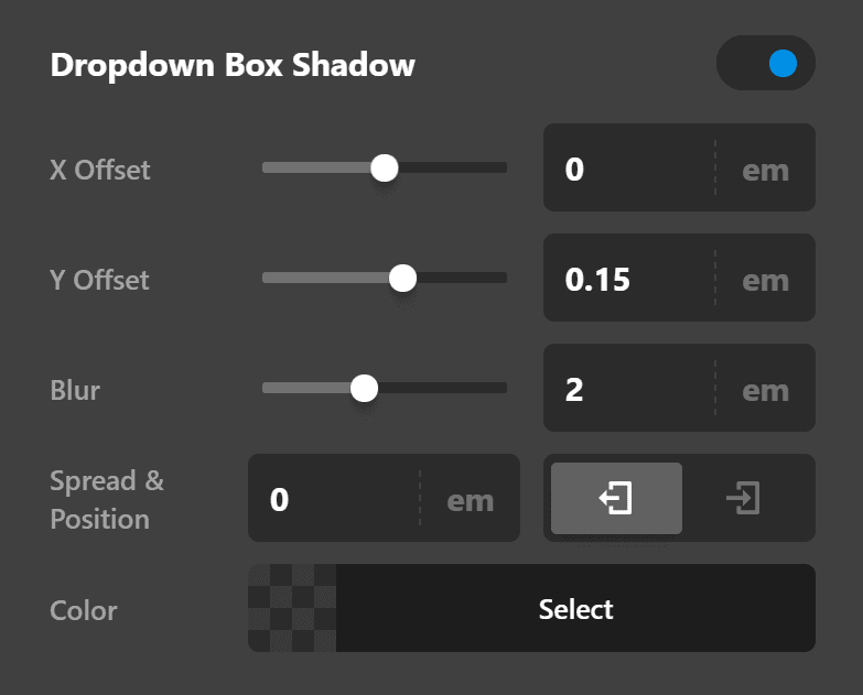 Dropdown Box Shadow