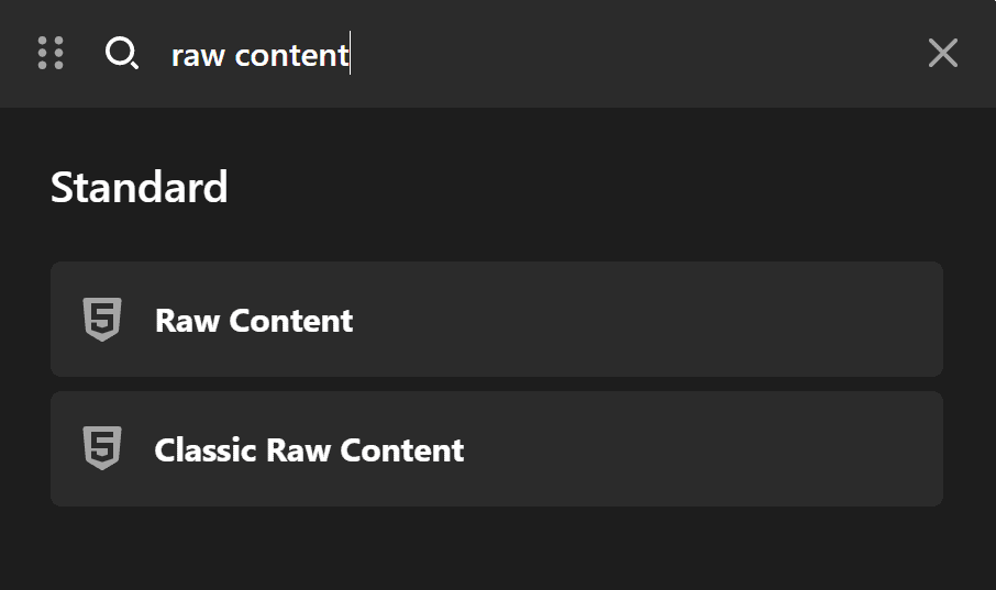Raw Content Element