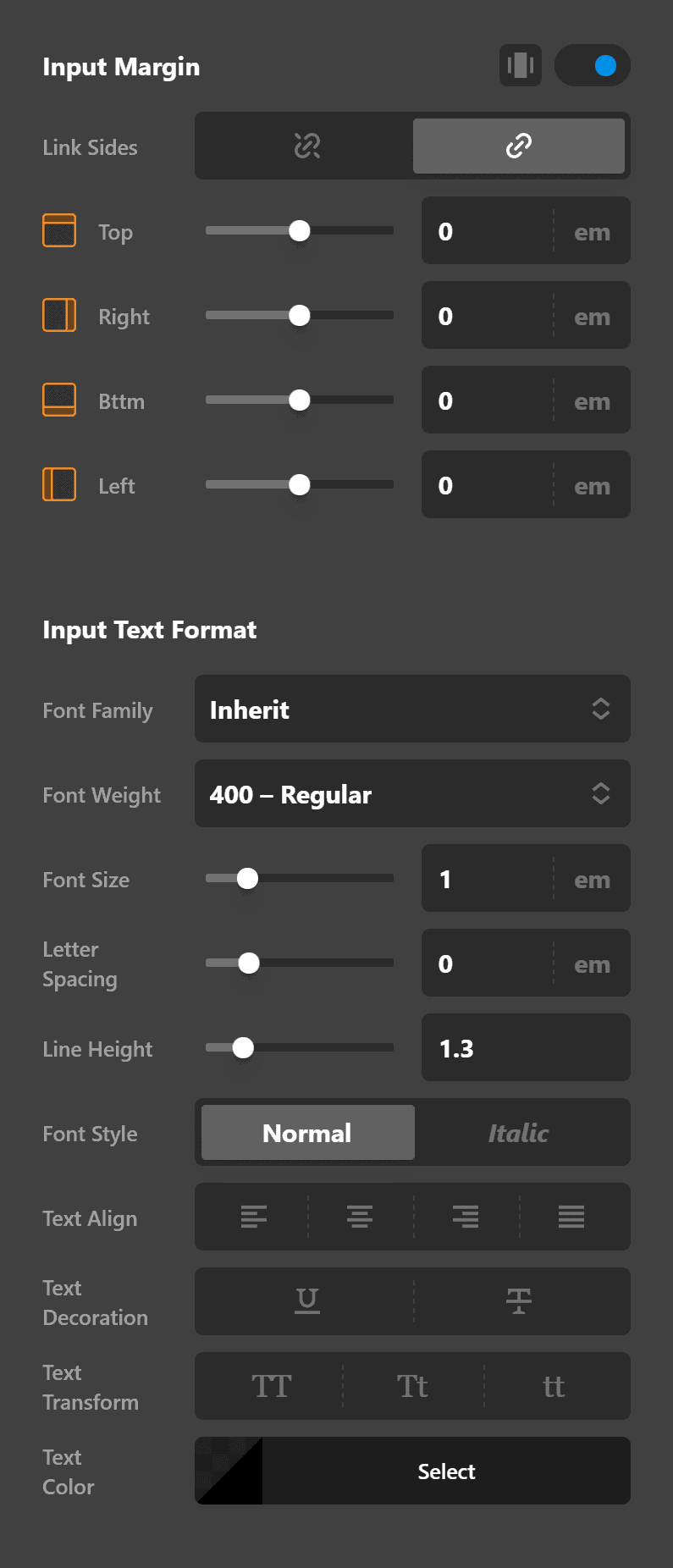 Search Inline Input Settings