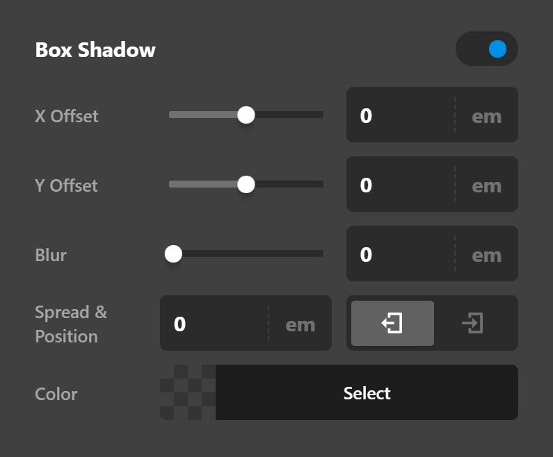Testimonial Element Setup Box Shadow