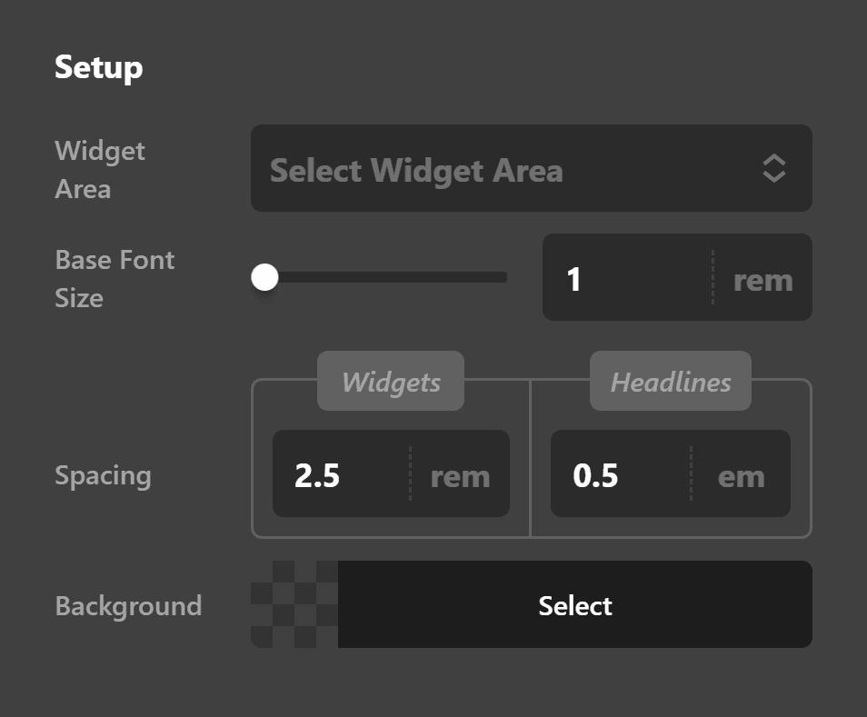 Widget Area Setup