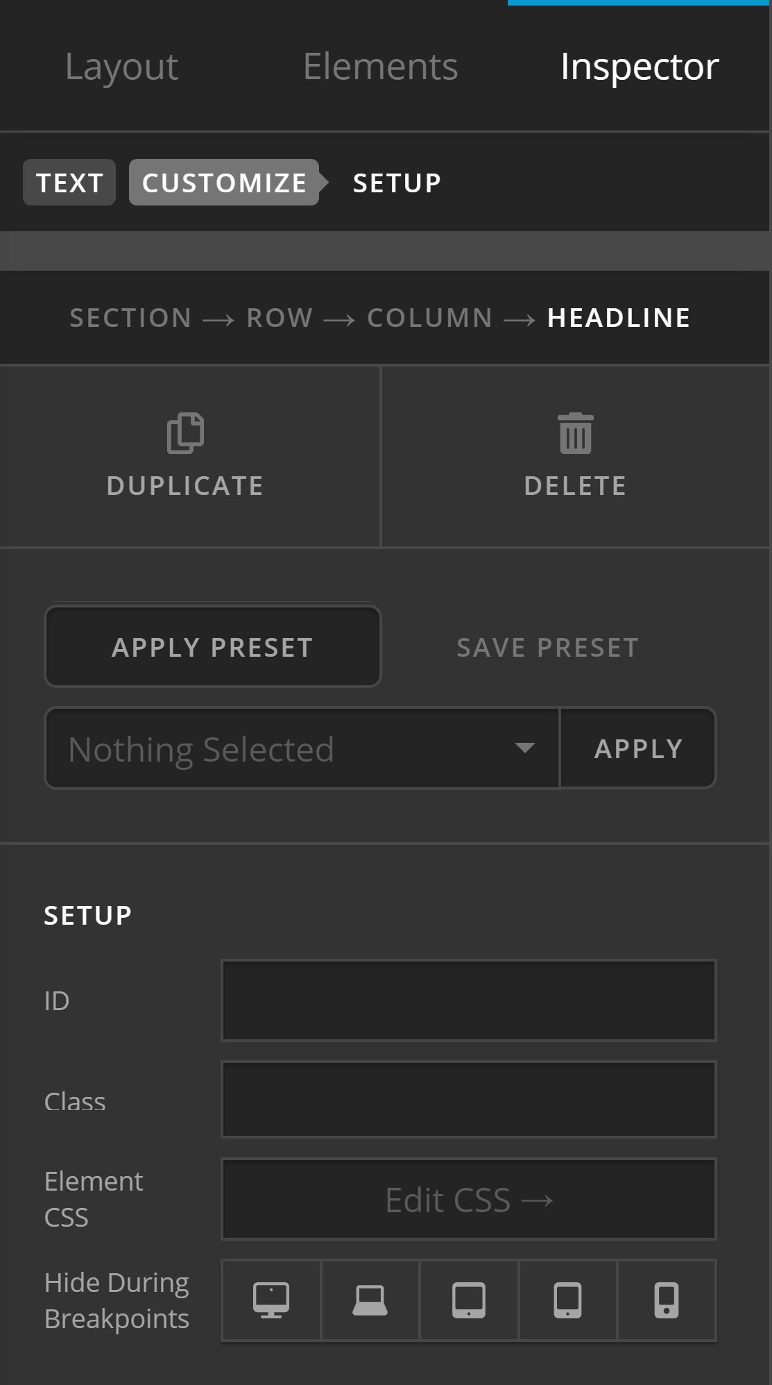Element Setup CSS Example