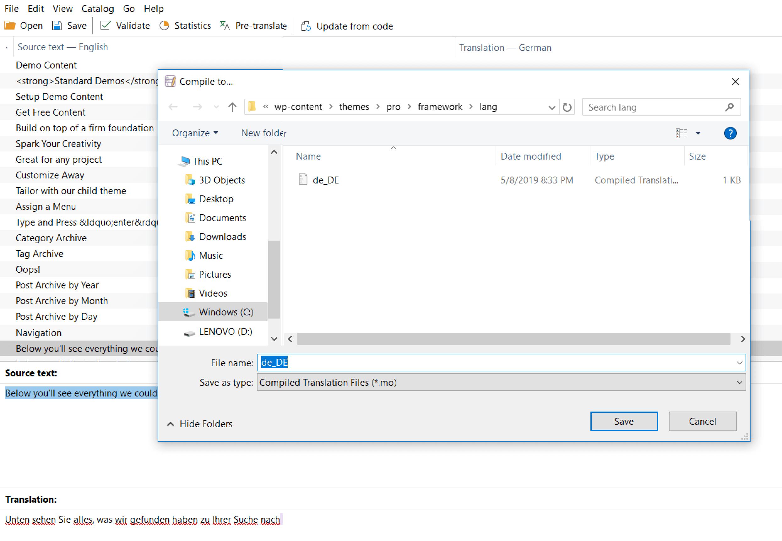 Poedit Save File