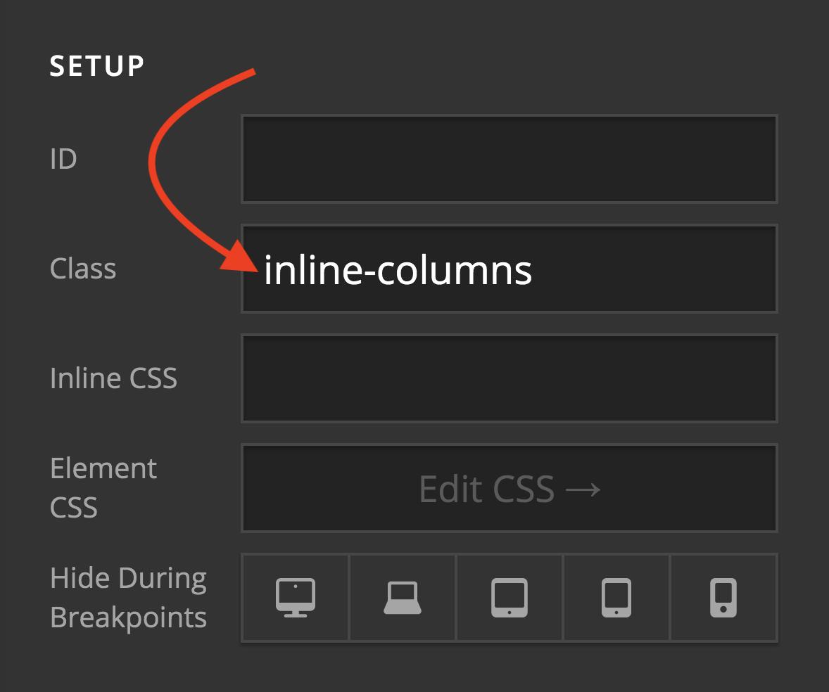 Inline Column Class Example