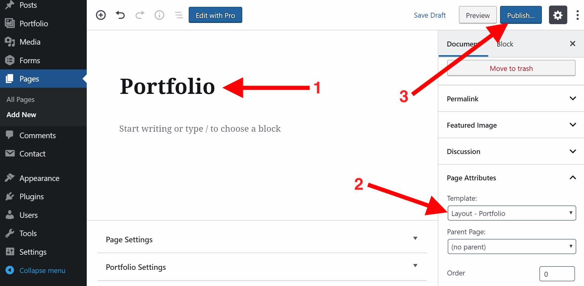 Portfolio Page Template Setup